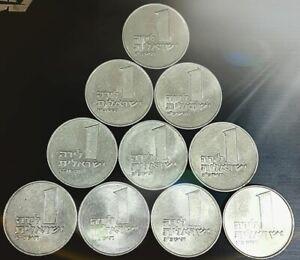 10 Coins Israel 1 Lira Pound 1963 Menorah Israeli Coin Collection KM# 37 Rare