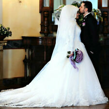 d067Muslim Luxury Beautiful 80cm Long Trail Long Sleeve  Wedding Dress Custom