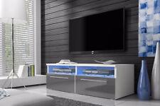 Siena - Meuble TV avec LED - 100 cm - Blanc, Noir, effet Chêne, Gris