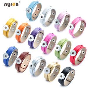 10pcs Multi Color PU Leather 18mm Snap Bangle Bracelet Fit 18mm Snap Button 370k