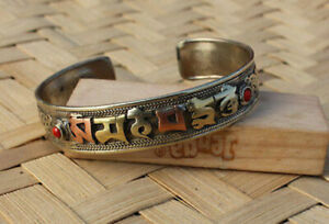 Tibetan Om Mani Adjustable White Metal Dargon Carved Bangles with Faux Stones