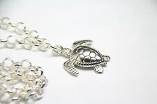 """Sea Turtle Charm Ocean Themed Pewter 1 1/4"""" Pendant Rhodium Chain Necklace 18"""""""
