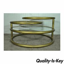 Vintage Hollywood Regency 3 Tier Round Swivel Coffee Table Mid Century Modern