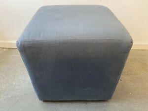 A Delightful Blue Fabric Pouf Pouffe Seat Footstool