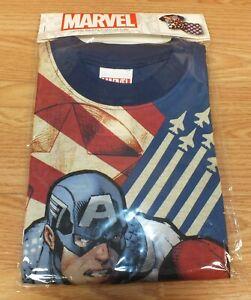 Marvel Captain America Super Hero Youth 2 Piece Pajama Shorts Set Sealed *MED*