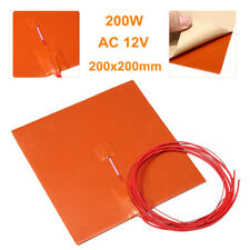 200W 12V 200x200mm Silicone Heater Pad for 3D Printer Heat Bed Heating Mat US