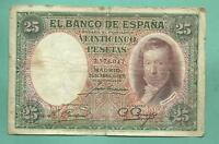 ESPAÑA:Billete de 25 PESETAS 1931. SIN SERIE . VICENTE LOPEZ