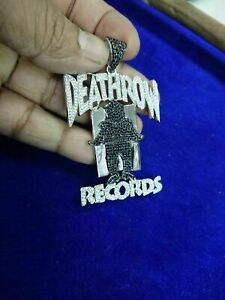 Dethrow-Records HipHop Style Pendant Black & White Stone Studded In 925 Silver