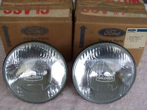 NOS FORD ZH FAIRLANE, LUCAS HALOGEN HEAD LAMP LENS' X 2, P4 LANDAU, P6 LTD