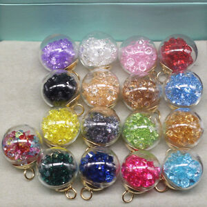 5Pcs Glass Ball Rainbow Crystal Floating Charms Pendants Necklace Crystal Beads