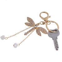 Cute Bead Dragonfly Crystal Keyring Charm Pendant Bag Car s Keychain Ring I9R9