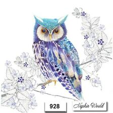(928) TWO Individual Paper LUNCHEON Decoupage Napkins - OWL BIRD BLUE
