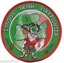 "London - Irish Firefighter  (4.5"" round size)   fire patch"