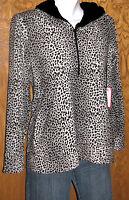 JUN Golf & Everyday Wear Pullover Plush Animal Print HOODIE Size Medium NWT