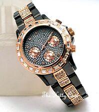 pour femme or rosé & BRONZE BAGUETTE crystal bling fantaisie montre bracelet