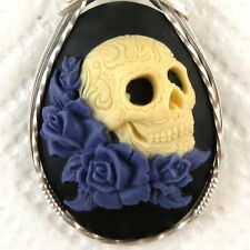 Skull Purple Roses Cameo Pendant .925 Sterling Silver Jewelry Black Resin