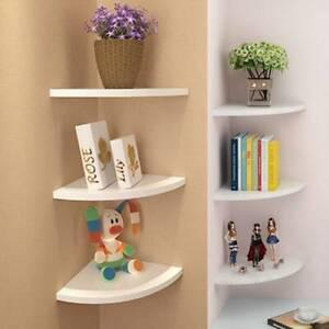 3pcs  Floating White Corner Shelf Shelves Wooden Wall Storage Unit Bedroom