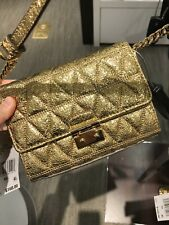 Michael Kors Ruby Metallic Quilted Clutch crossbody color- pale gold