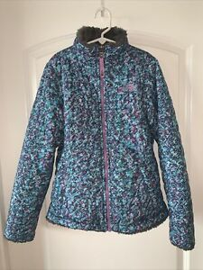 The North Face Mossbud Swirl Fleece Reversible JacketCoat Girls 8 10 M Floral