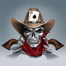 Dead Mans Hand Cowboy Skull Figurine - Bradford Exchange