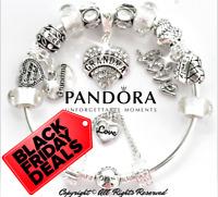 "Authentic PANDORA Bracelet Silver ""I LOVE YOU, GRANDMA"" with European Charms New"