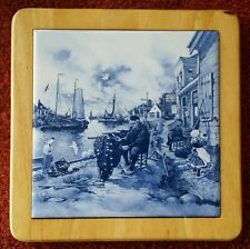Vintage Ter Steege Old Man on Dock Tile Framed in Wood Hand Decorated In Hollard