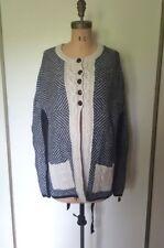 HEM & THREAD navy white zigzag pattern wool blend cardigan poncho sweater M L