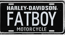 Harley Davidson FATBOY Embossed Vanity Metal License Plate Auto Tag Black