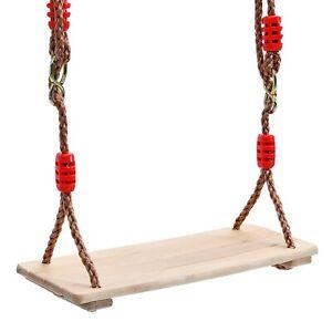 Children Kids Wooden Seat Hanging Tree Swings Set Adjustable Rope Outdoor Play