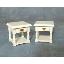 Dolls House Furniture :  Set of Two White Wooden Bedside Units in 12th scale