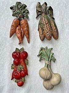 Set of 4 Vintage Ceramic Chalk Vegetable Wall Plaques Tomato Corn Carrot Onion