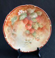 """Antique Hand Painted Artist Signed Strawberries 9"""" Plate 1800s Unmarked"""
