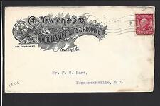 """MACON, GEORGIA COVER,1906.  """"C.E. NEWTON & BRO. FRUITS""""."""