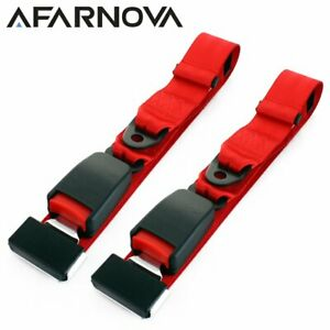 2pc 2 Point Harness Safety Seat Belt Lap Strap Adjustable Red Car Truck