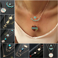 Multilayer Fashion Women Alloy Clavicle Choker Necklace Pendant Chain Jewelry