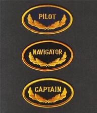 PILOT NAVIGATOR CAPTAIN Sew On Iron On MILITARIA Novelty PATCH SET 3 Pcs New