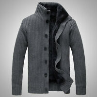 Korean Slim Fit Men Fur Lined Thicken knitted sweater Knitwear Cardigan Coat New