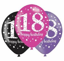 "6pk Pink Celebration 18th 18 Happy Birthday Latex Balloon 11"" Party Decorations"