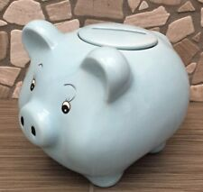 Blue Ceramic Childs Pig Piggy Bank