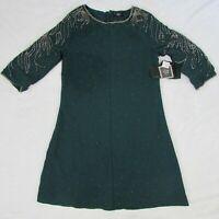 Women's Volcom Stone Row Mini Dress Short Sleeve Dark Green Metal Accents Size S
