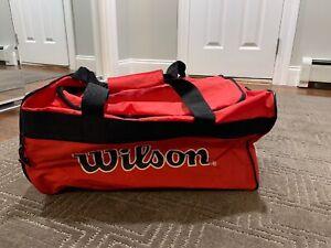 Vtg 90's Retro Spell Out Big Logo Wilson Tennis Gym Duffel Carry On Bag