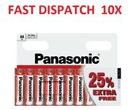 10 x AA Genuine PANASONIC Zinc Carbon Batteries New R6 1.5V Battery EXPIRY 2022