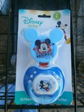New listing Disney Baby Mickey Mouse Orthodontic Pacifier & Holder Brand New Bpa Free