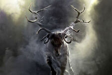 Framed Print - Stag Charging through the Mist (Picture Deer Animal Bear Fox Art)