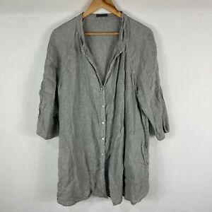 Oska Womens Linen Tunic Dress 4 AU 16-18 Grey 3/4 Sleeve V-Neck Lagenlook