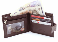 MEN'S LUXURY QUALITY SOFT REAL LEATHER WALLET CREDIT CARD HOLDER PURSE 421-BROWN