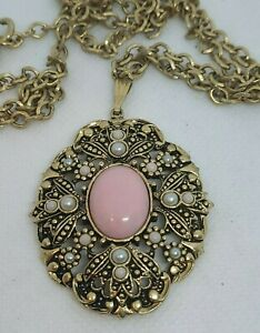 AVON Gold Tone Necklace with PINK Stone Seed Pearls Fashion Necklace