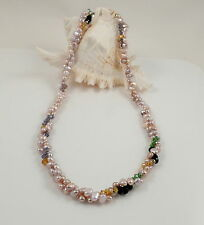 Long Pale Pink Baroque Freshwater Pearl&Crystal Necklace & Brass Shortener 47''