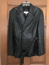 Valerie Stevens Womens Soft Black Leather Jacket Belted  Size M EUC