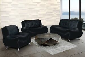 NEW SLEEK Black Leather Gel 3PC Sofa Set Contemporary Modern Living Furniture